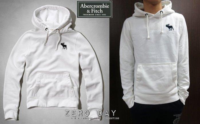 【零時差美國時尚網】A&F Abercrombie&Fitch BLUE MOUNTAIN HOODIE麋鹿刺繡帽T白色