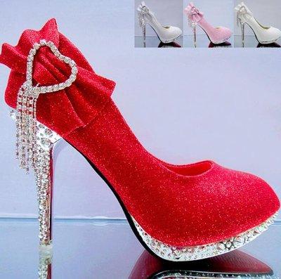 婚鞋 高跟鞋 新娘鞋 伴娘結婚鞋子 防水台細跟單鞋 大尺碼34-41碼—莎芭