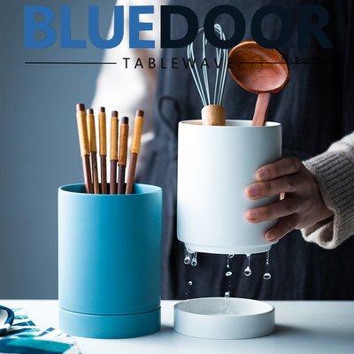 BlueD_ 筷子 湯匙 平光 陶瓷 收納罐 餐具收納筒 瀝水 防潮 北歐風 創意設計裝潢 新居入遷 桌面收納 筷子籠