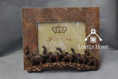 (台中 可愛小舖)泰式奔放草原立體大象風格-褐色方形簡約相框鄉村石頭路裝飾褐色邊框送禮全家福藝術照擺飾擺設裝飾皆可