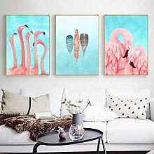北歐現代簡約粉色少女心火烈鳥愛情裝飾畫床頭客廳掛畫微噴畫芯(不含框)