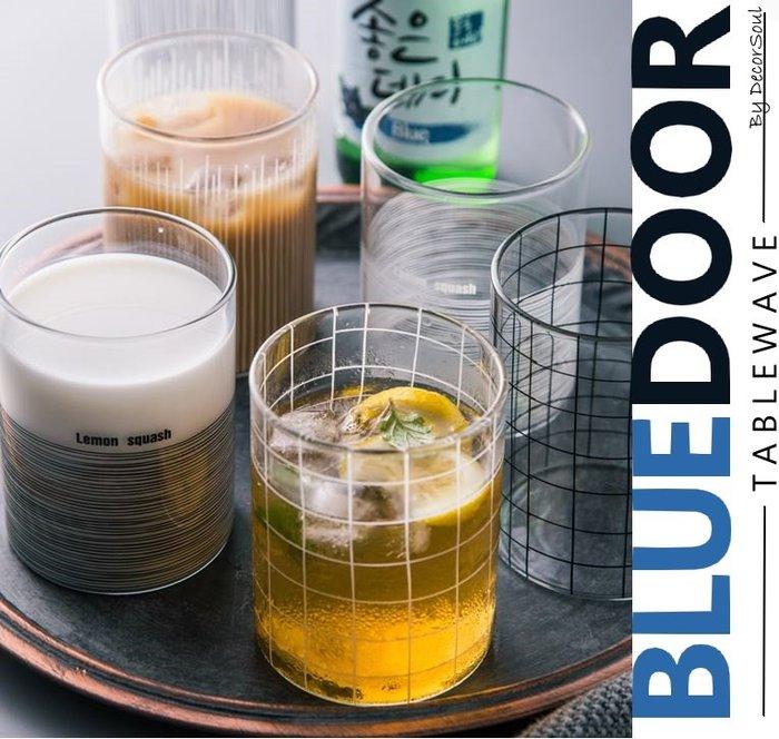 BlueD_ 北歐風 格紋 黑白線條 條紋 玻璃杯 牛奶杯 水杯 厚杯緣 酒杯 文青 透明設計裝潢咖啡廳 網美風 IG款