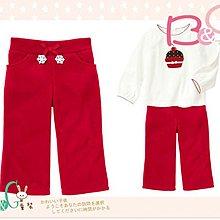 【B& G童裝】正品美國進口GYMBOREE吊飾花紅色刷毛保暖長褲18-24mos2,3,5yrs