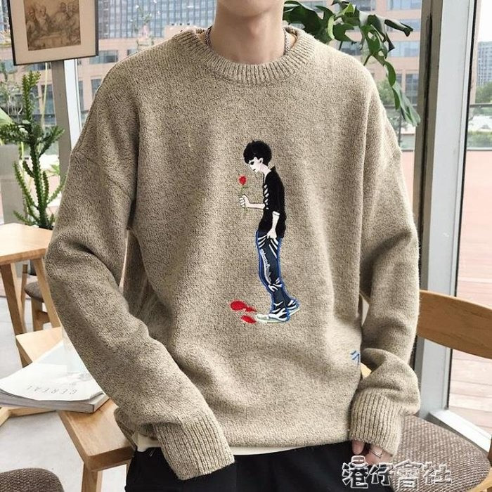 針織衫秋冬季情侶裝男士韓版潮流毛衣外套半高領寬鬆加厚學生
