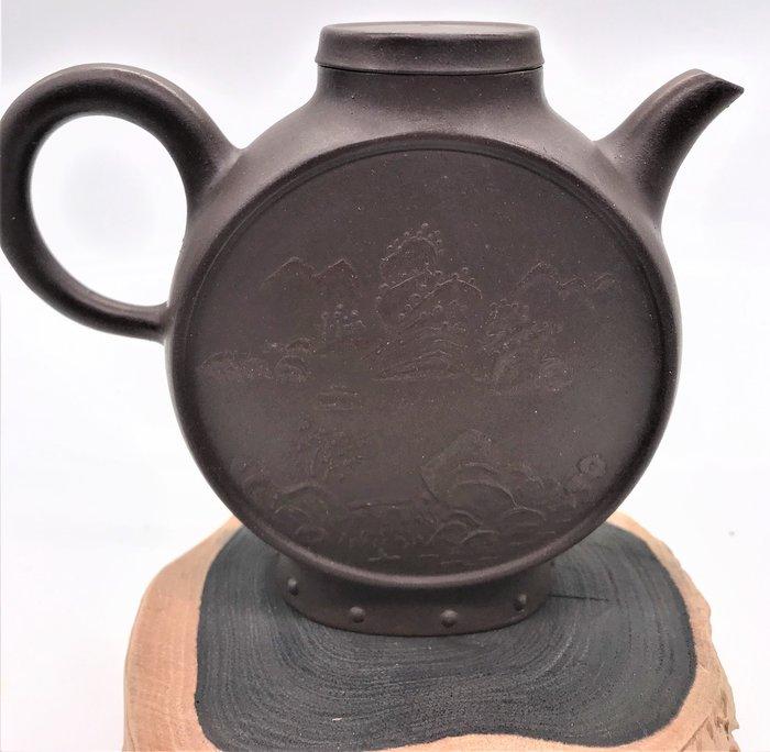 民國初年月中景紫砂茶壺老茶壺