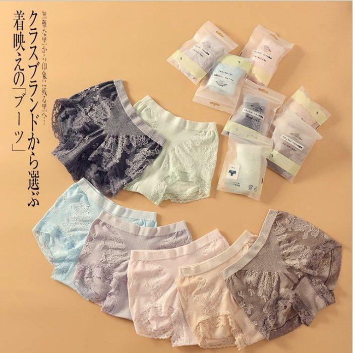 日本女士中高腰性感蕾絲內褲 棉質蕾絲彈性內褲 M~LL均碼 彈性大 提臀 三件1180