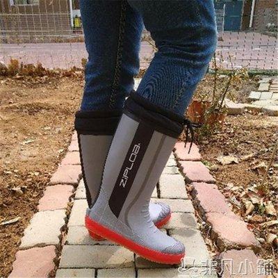 雨靴 雨鞋雨靴新款拼色灰色時尚男高筒防滑春季橡膠靴工地靴磯釣靴水鞋   全館免運