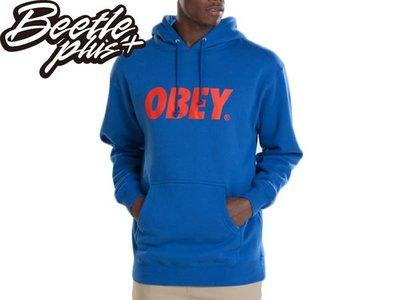 BEETLE 全新 美國品牌 OBEY FONT LOGO 連帽 長袖 帽TEE 水藍 紅文字 M L