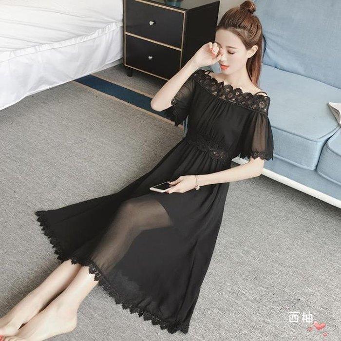一字領洋裝 短袖雪紡連身裙夏新品一字領鏤空蕾絲裙收腰顯瘦度假沙灘長裙 S-XL