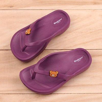 Ovan 女童 拉拉熊 懶懶熊 牛奶熊 Rilakkuma 柔軟EVA舒適 人字夾腳拖鞋 MIT製造 紫色