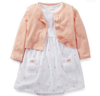 美國正品Carter  #39 s 白橘包屁洋裝兩件組