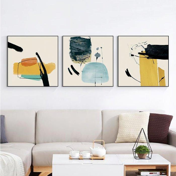 壁畫裝飾畫墻畫國畫守望 客廳裝飾畫抽象藝術畫現代簡約掛畫餐廳墻面裝飾壁畫三聯畫