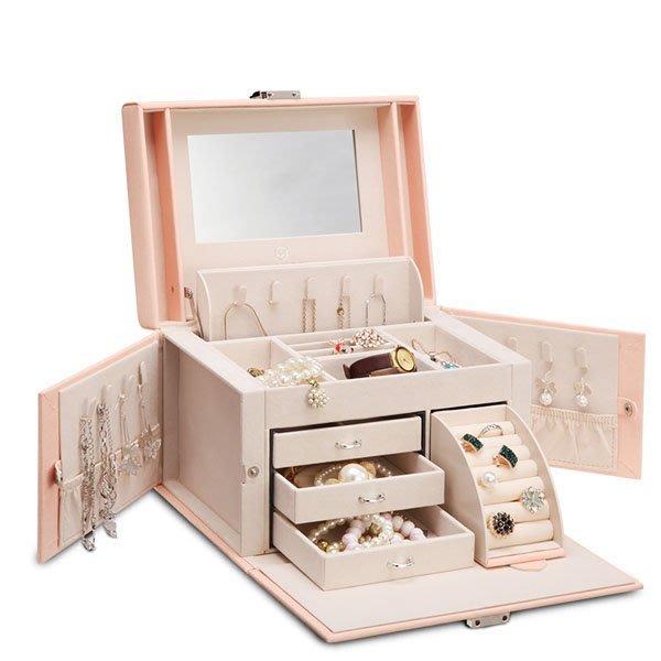 5Cgo【鴿樓】會員有優惠 39556154422 歐式首飾盒公主歐式木質帶鎖飾品盒公主化妝首飾收納盒戒指項鏈收納盒