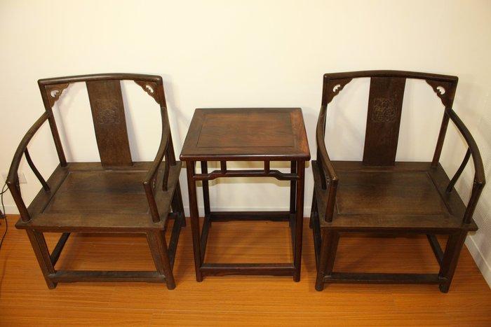 悅年堂 --- 酸枝木 圈椅一對  酸枝木 方几 香几 可單賣