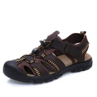 涼鞋 真皮拖鞋-防滑耐磨清爽透氣男鞋子3色73mi9[獨家進口][米蘭精品]