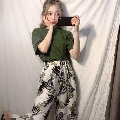 日系女夏套裝兩件套社會女學生韓版復古樹葉褲子闊腿潮