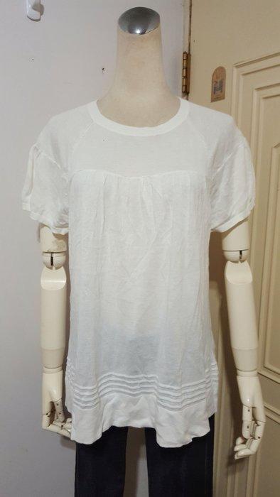 美國GAP品牌米白抽褶連袖棉質針織衫L號(適L~XL)*250元直購價*