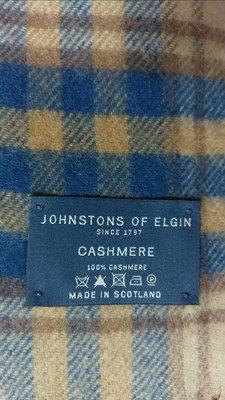 近新(男女均用)JOHNSTONS OF ELGIN 100% Cashmere喀什米爾蘇格蘭製Made in Scotland經典格呢圍巾Burberry圍巾