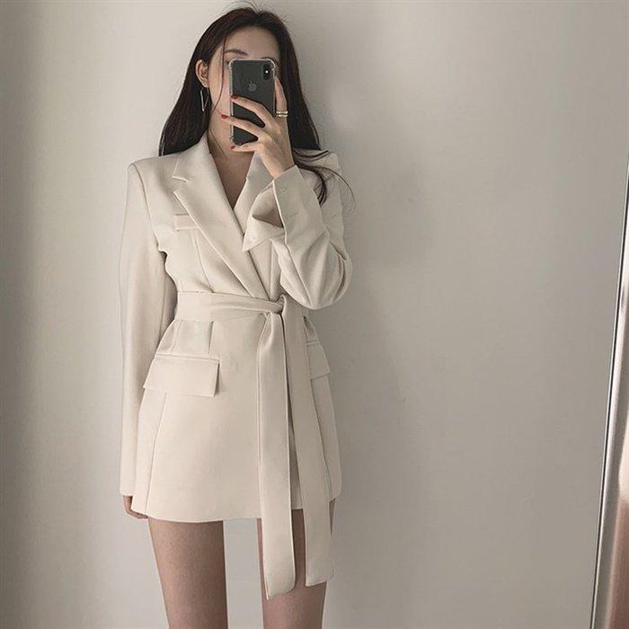 Modem Girl♥100%實拍 推薦必買~韓國 中長版西裝綁腰外套