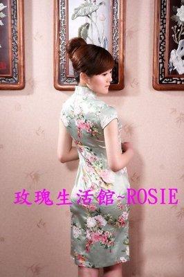 【玫瑰生活館】~綠花叢~ 改良式小包袖旗袍~洋裝裙~(仿絲綢質感超柔軟)S~2XL(偏小)