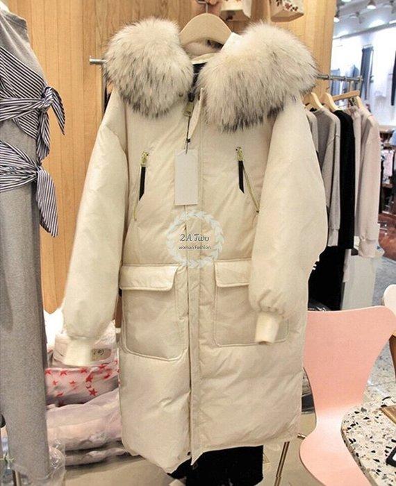 【2A Two】韓國⌒質感 連帽 羽絨  寬鬆 加厚 \大毛領 外套『381018001』