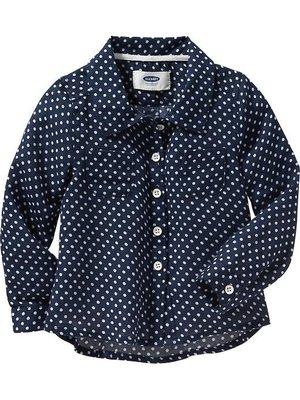 小米媽美國小鋪 old navy 超可愛百搭有型點點襯衫,一年四季皆可穿 18~24M,2T