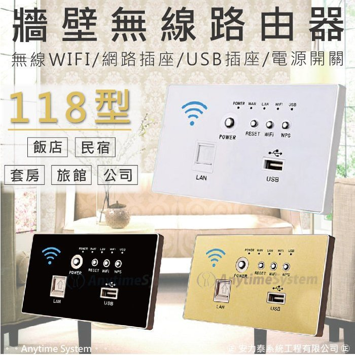 │安力泰網路智能館│118型牆壁式 無線路由器 分享器 開關插座面板/電腦插座/USB插座/3G網卡/信號中繼
