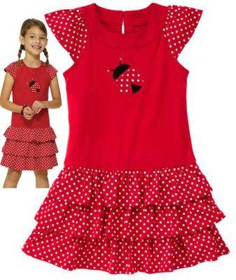 17@☆蠍蠍傳說Gymboree Polka Dot Ladybug Dress紅底白點瓢蟲飛袖蛋糕裙洋裝(10-12T