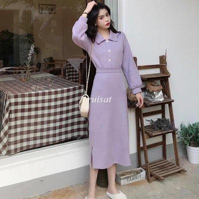 【ruisat】包郵 秋冬新款韓版港味 溫柔紫色衛衣女+開叉半身裙套裝時尚兩件套