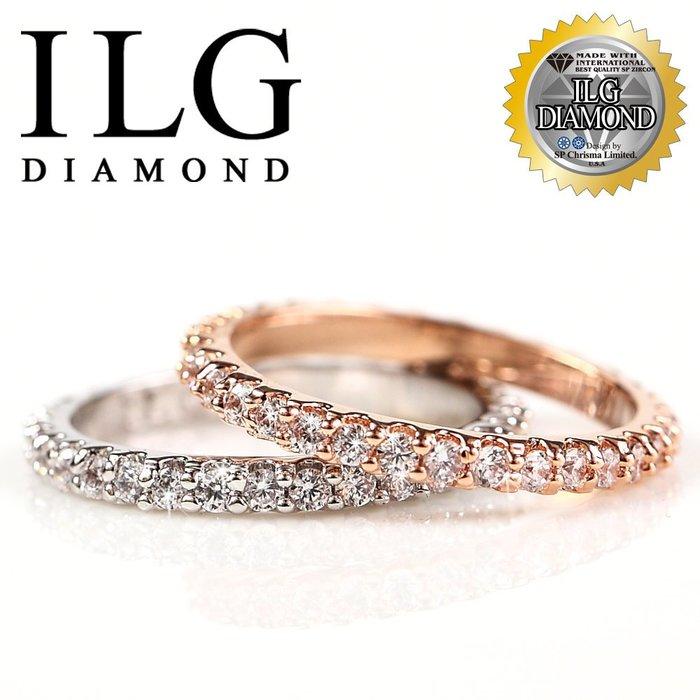 滿鑽線戒指鍍18K白金玫瑰金經典款歐美熱銷美國頂級ILG鑽飾真金電鍍獨家訂製搭配一克拉鑽戒求婚戒 Ri063/064
