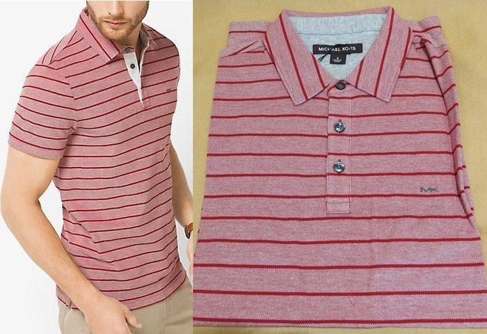大降價!全新 Michael Kors Men MK 高質感紅色粉紅色條紋POLO衫!低價起標無底價!本商品免運費!