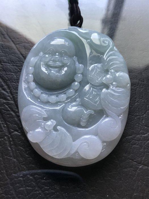 春彩料 糯冰種 緬甸翡翠A貨 佛公 招財進寶 福在眼前 手工雕刻