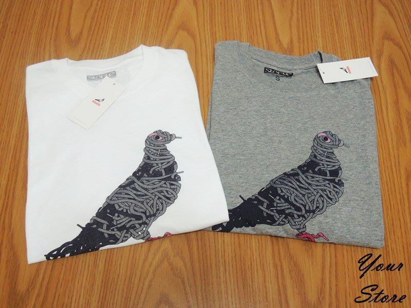 【Your Store】美牌 Staple Pigeon 新款 Lace繩索 鴿子Logo 短T 灰/白 兩色
