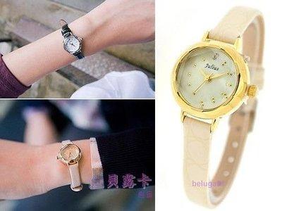 ☆貝露卡☆ 韓國設計JULIUS 花瓣鏡面切割亮皮小圓真皮細帶手錶 五色 預購