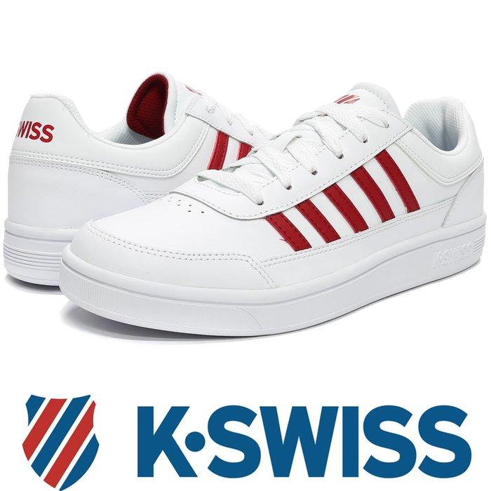 鞋大王K-SWISS 06042-131 白×紅 皮質休閒運動鞋(有12號、13號)【免運費,加贈鞋油和襪子】728K