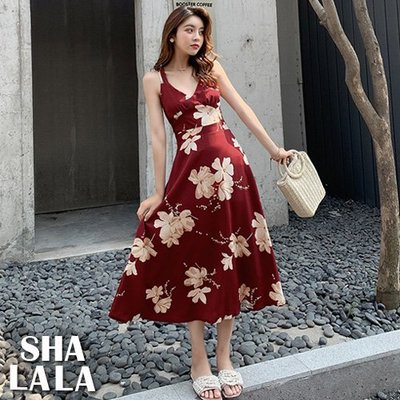 SHA LA LA 莎菈菈 韓版度假風V領性感吊帶交叉露背印花連衣裙長洋裝2色(M~L)2019050511預購款