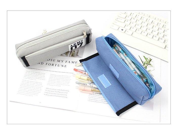 MY#爆款#韓款創意筆袋簡約純色小清新雙層多功能大容量帆布筆袋初中生男女