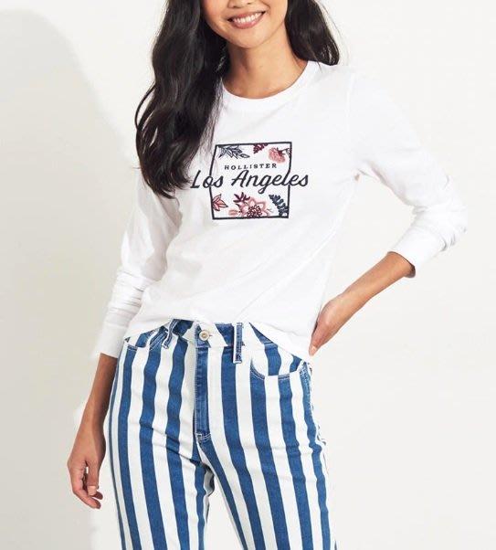 Hollister HCO 海鷗 車繡花朶LOGO 長袖T恤白色
