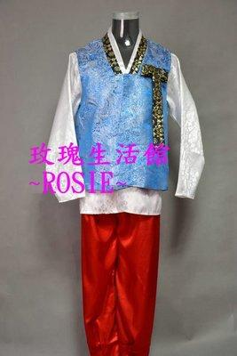 【演出show】~ 藍色傳統韓服男士套裝: 男韓服,宮廷服,表演服: 含:上衣,背心,長褲