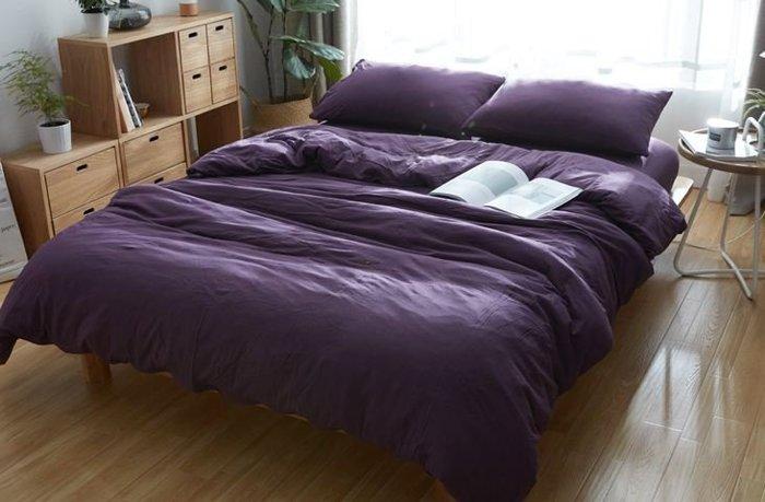 純棉親膚裸睡專用床包組(銀河紫) 床包 床單 枕頭套 枕頭 床 棉被 被套 寢具 裸睡 純棉 床包組 拖鞋 室內拖鞋