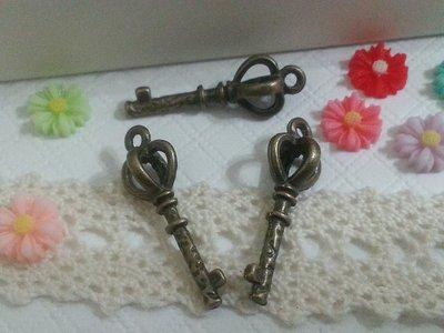 【小蘋果】手作材料/ 皇冠鑰匙25mmx9mm/ 一份4個10元/ 古銅色合金配件(MA099) 台南市