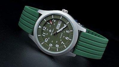168錶帶配件 /台灣精品,美型軍綠色,搭載日本 SEIKO 精工原廠 VX43 石英機芯,,強悍造型軍風防水石英錶