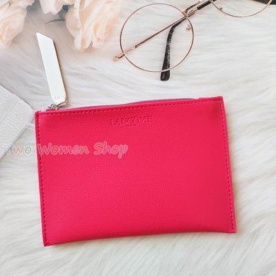 【LANCOME 蘭蔻】NEW! 時尚桃紅化妝包 薄型 美妝包 零錢包 手拿包 收納包 卡片包 周年慶滿額贈品包 防水