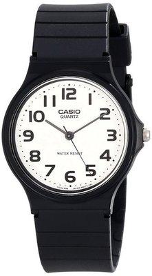 【神梭鐘錶】CASIO 卡西歐文青個性極簡考試黑色數字指針白面石英黑錶 型號:MQ-24-7B2LDF
