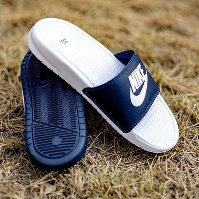 NIKE BENASSI JDI MISMATCH 深藍白 陰陽 皮革 防水拖鞋 818736-410