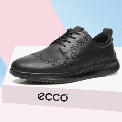 ECCO愛步潮流商務男鞋 舒適緩震時尚烤花精緻男士皮鞋640004雅仕系列黑色39-44