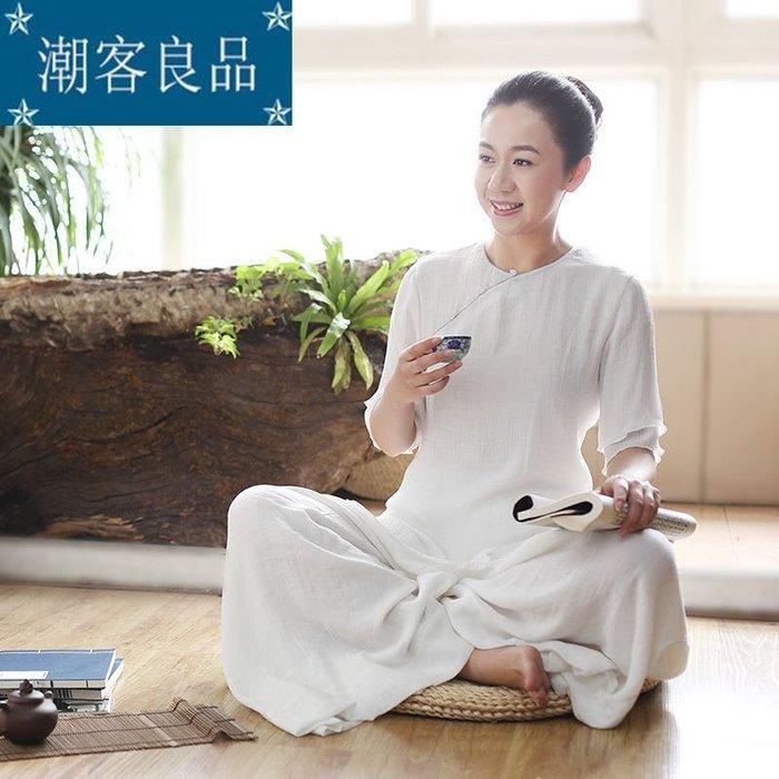 【潮客良品】~佛笑緣瑜伽服上衣白色春夏新款女裝復古中國風唐裝禪意茶服cklp6511