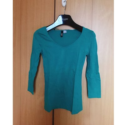 H M beautiful green v neck silm fit cotton blouse top shop mango 外國簡約靚綠色v領收身中袖襯衫