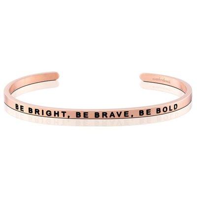 MANTRABAND 美國悄悄話手環 Be Bright Be Brave Be Bold 聰明勇敢膽大 玫瑰金手環
