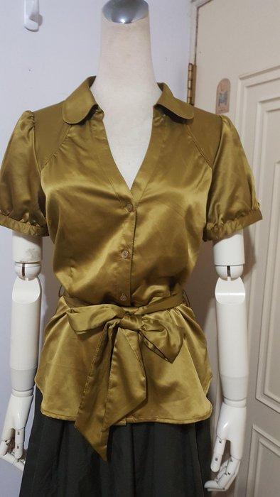 瑞典H&M品牌橄綠腰綁結緞質公主袖襯衫#8(適M~L)*250元直購價*